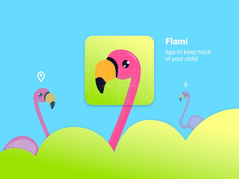 Icon for Mobile App Flami app icon dailyui005 location green bird flamingo illustration vector pink blue mobile icon icon mobile app app ux ui pro100challenge minimal design