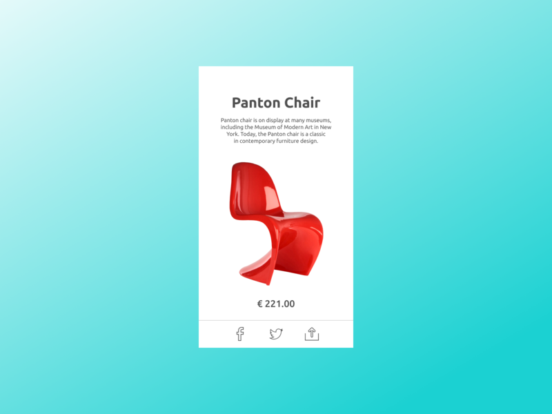 Panton Chair dailyui010 modern card product share typography chair red blue minimal ux ui pro100challenge design