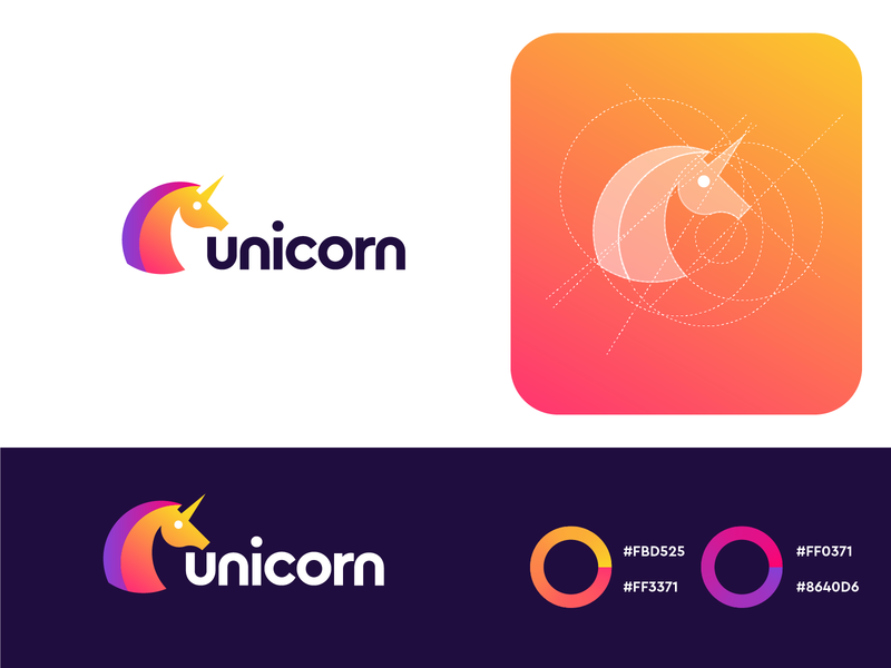 unicorn logo design colors logo grid wordmark fantasy unicorn brand identity brand design logo design branding logo mark typogaphy logotype design company logodesign minimal modern logo logo designer icon branding illustration design