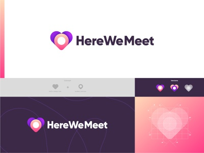 here we meet logo design brand design android iphone branding design logo idea logo concept date app brand identity app typogaphy logotype logo mark minimal icon logodesign modern logo logo designer illustration branding design