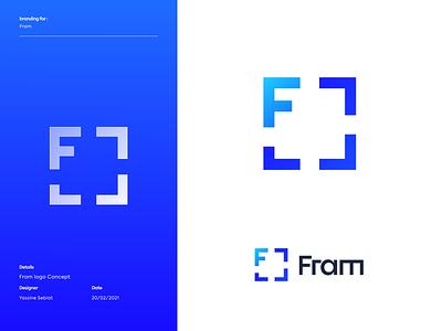 F+Fram logo concept blue frame symbol icon design brand and identity branding design brand design logo mark symbol logo design logotype brand identity logo concept logo mark minimal logodesign icon modern logo logo designer branding design