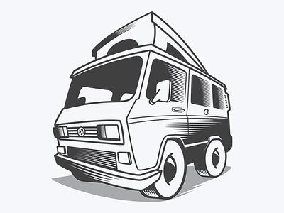 Westfalia '89 vw westfalia illustration logo vector auto car transport vehicle