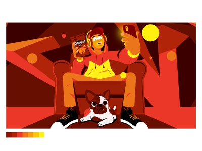 Doritos Styleframe bulldog dog home couch snacks character artdirection
