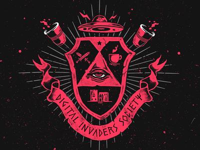 Invader Society Shield shield society logo fraternity school university design illustration invaders eye