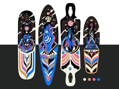 Ancient Aliens Longboards Design aliens planets abstract design longboards longboard board geometric vector illustration