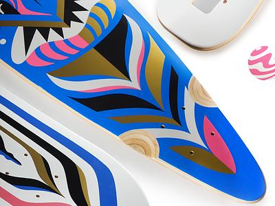 Longboards CloseUp printed longboard skateboard board skate design golden gold illustration longboards