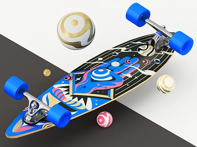 Board Concept 3D render c4d 3d printed longboard skateboard board skate design golden gold illustration longboards