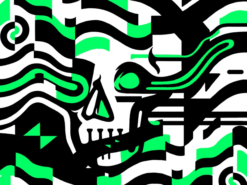 Skull Glitch illustration error neon computer bold skull glitch