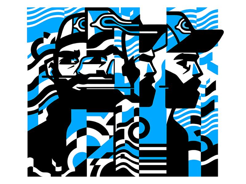 Portrait futuristic graphic verctor bold movement face portrait glitch