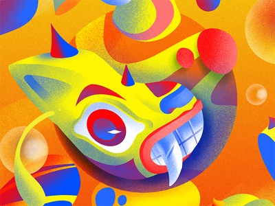Personal Piece WIP colors colorful draw illustration noise shapes abstract ball eye digital art mask