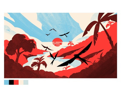 Styleframe Tulum background color palm clouds sunset birds illustration mexico landscape jungle animation styleframe