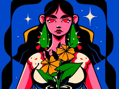 Mexican Girl flowers woman mexican girl character design drawing illustration