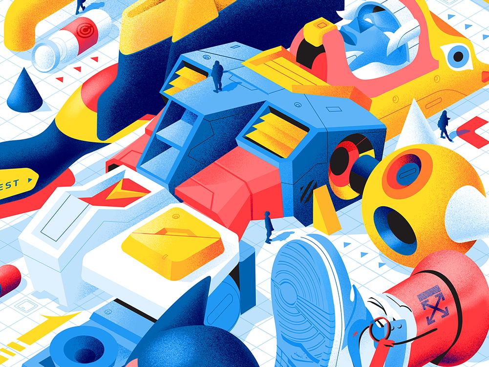 Refurbished offwhite nike warrior vector robots illustration art astroboy art noise illustration robot gundam mechanic anime