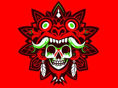 NEON AZTEK sticker shield logo skull logo aztek mexican mexico red simple vector illustration skull