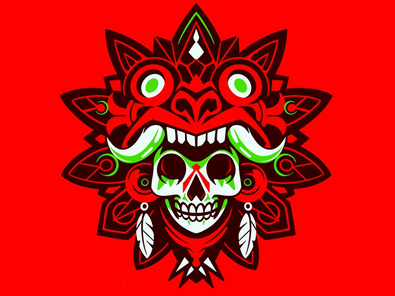 NEON AZTEK sticker shield logo skull logo aztek mexican mexico red simple vector illustration skull