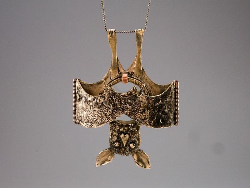 Blind as a Bat student work pins saltwater etch bats type design type necklace bronze metals jewelry design jewelry