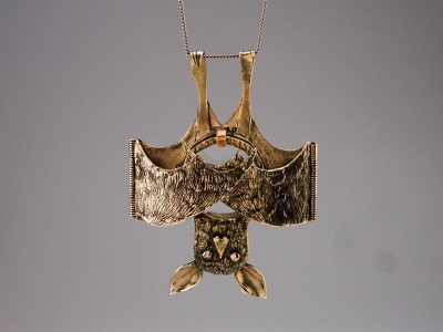 Blind as a Bat student work pins saltwater etch bats type design type necklace bronze metals jewelry design jewelry