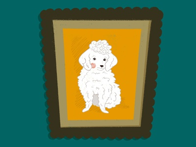 Painting poodles dogs etsy vintage procreate illustration