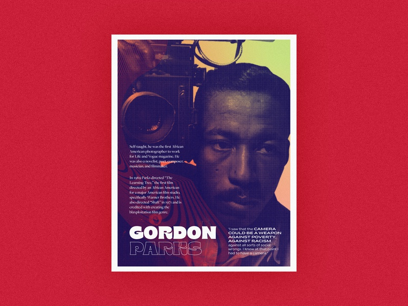 Poster Series | Gordon Parks layout 70s history gradient poster challenge african american