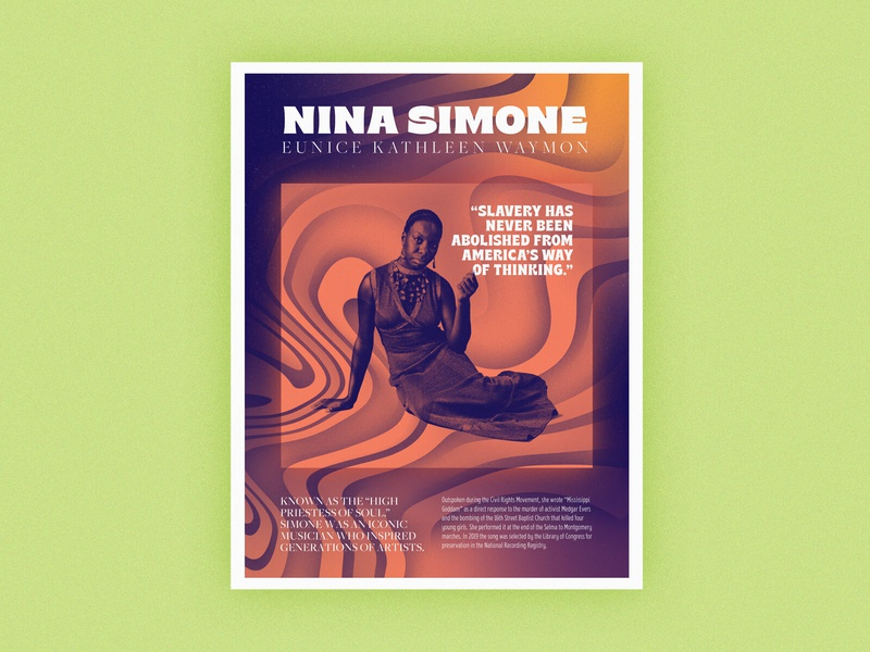 Poster Series | Nina Simone quotes patterns abstract history challenge gradient poster african american
