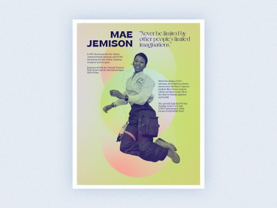 Poster Series | Mae Jemison history nasa space type layout challenge poster african american