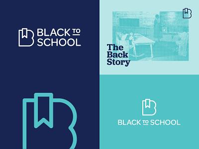 Black To School black history teal blue mark typogaphy newsletter activism community bookmark education b logo branding