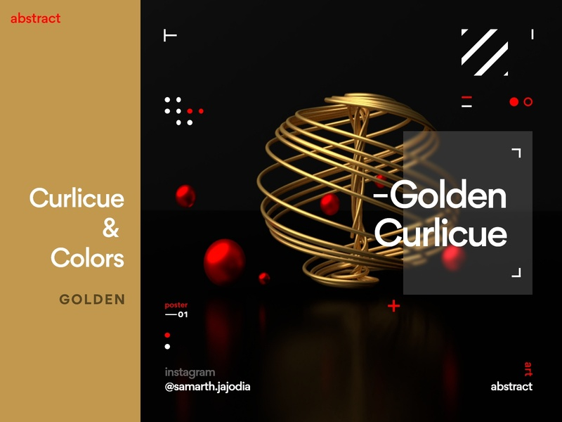 Golden Curlicue [Curlicue & Colors] adobexd adobe photoshop photo 3d 3d art art graphics graphicdesign graphic circles curling curl golden red illustration design blender3dart blender3d xd