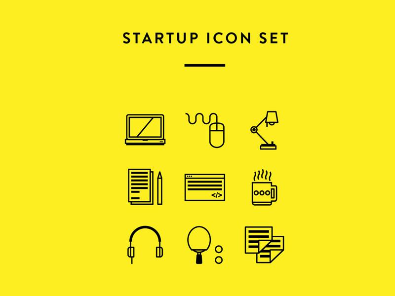 Startup Icon Set icon startup line yellow black illustrator sketch