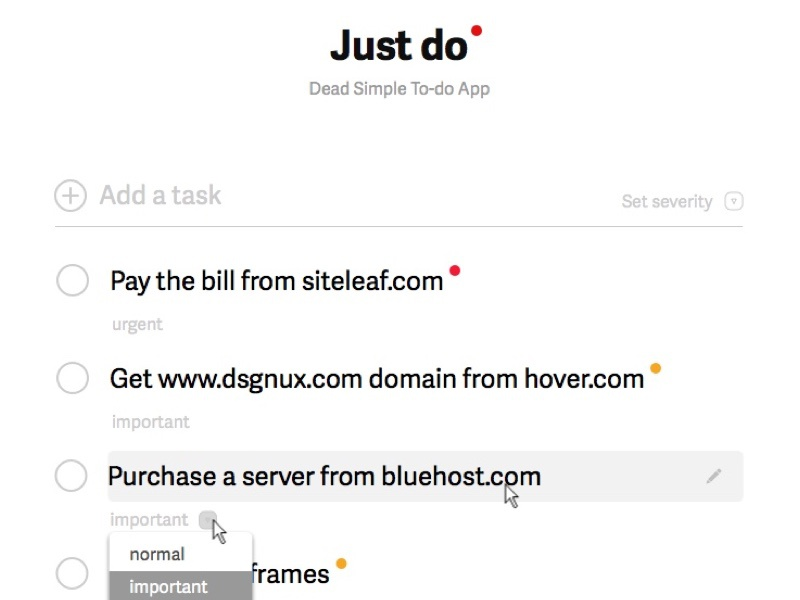 Just Do minimal list white desktop web app todo