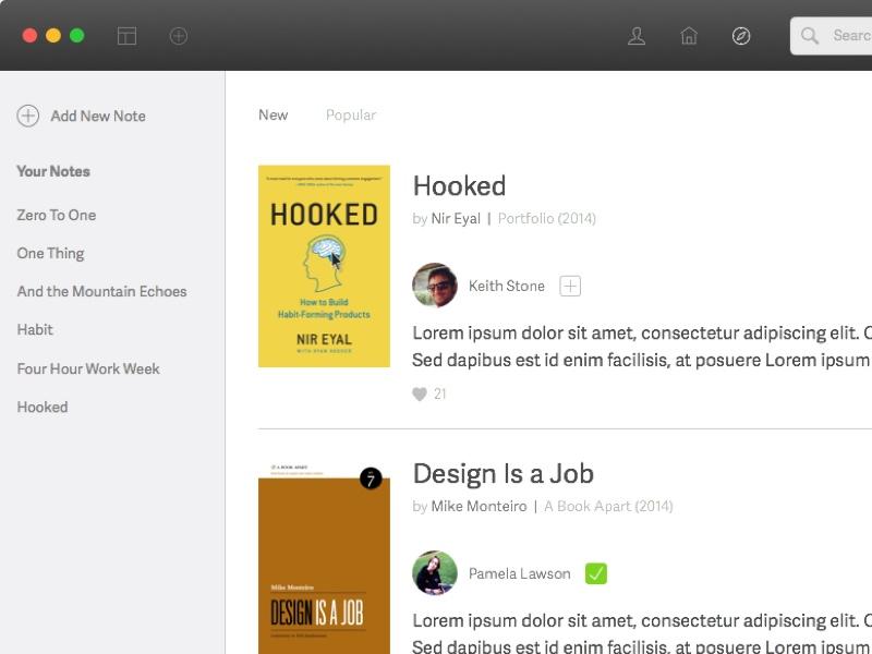 Booknote sidebar minimal clean book app mac note