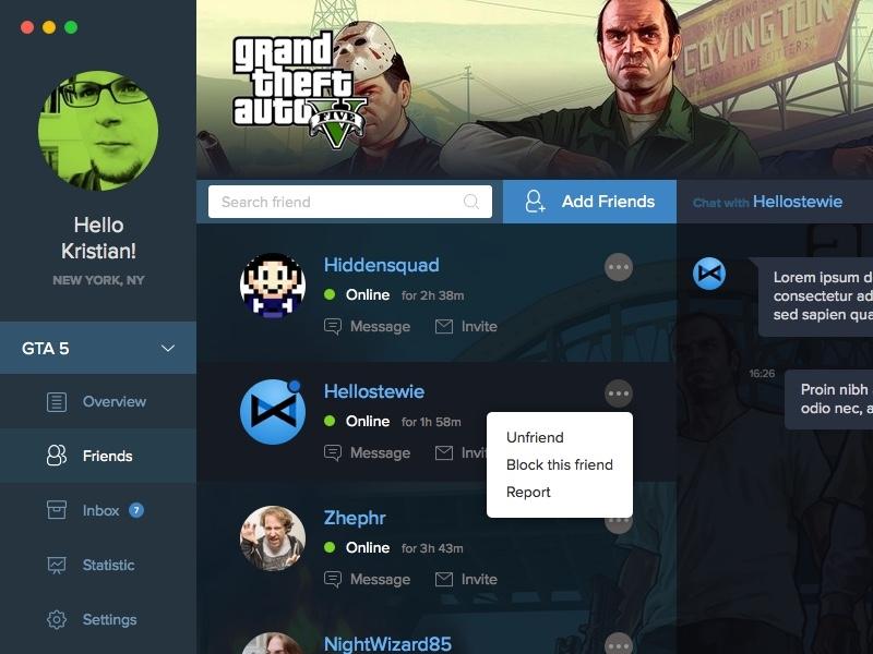 Friend List for games application desktop osx message game friends dark