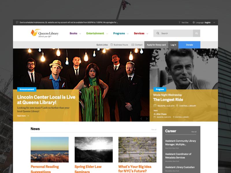 Queens Library Website Redesign desktop web design website redesign