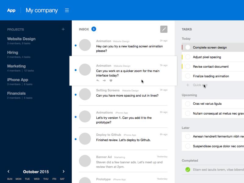 App Screen sidebar blue task list task productivity desktop app
