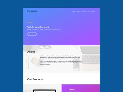 Website to be up soon product tech landing page company purple blue web design