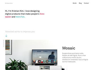 New Home white kristian kim web design portfolio