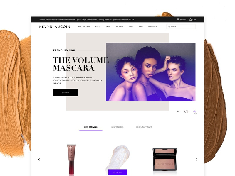 Kevyn Aucoin Website Redesign - Draft desktop layout web design web site design