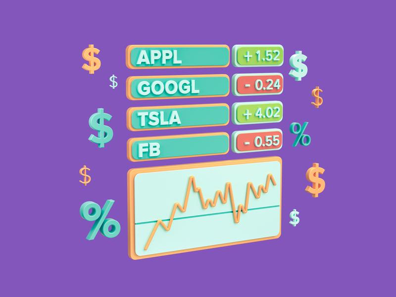 Watch your stocks banking website here math octane financial 3d icon icon web dollar money stocks finance bank cinema 4d 3d illustration