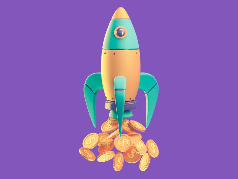 Financial Rocket 3d artist octane hero image web finance financial dollar coins vehicle transport money rocket 3d icon icon 3d illustration illustration 3d cinema 4d