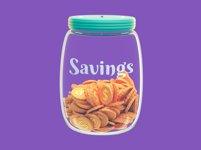 Building up your savings icons octane dollar bank coins money glass financial finance web icon 3d illustration 3d cinema 4d