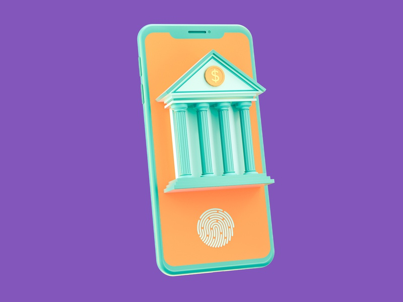 Online Banking mobile iphone smartphone phone touch fingerprint 3d icon icon financial finance dollar coins coin money building bank banking 3d illustration 3d cinema 4d