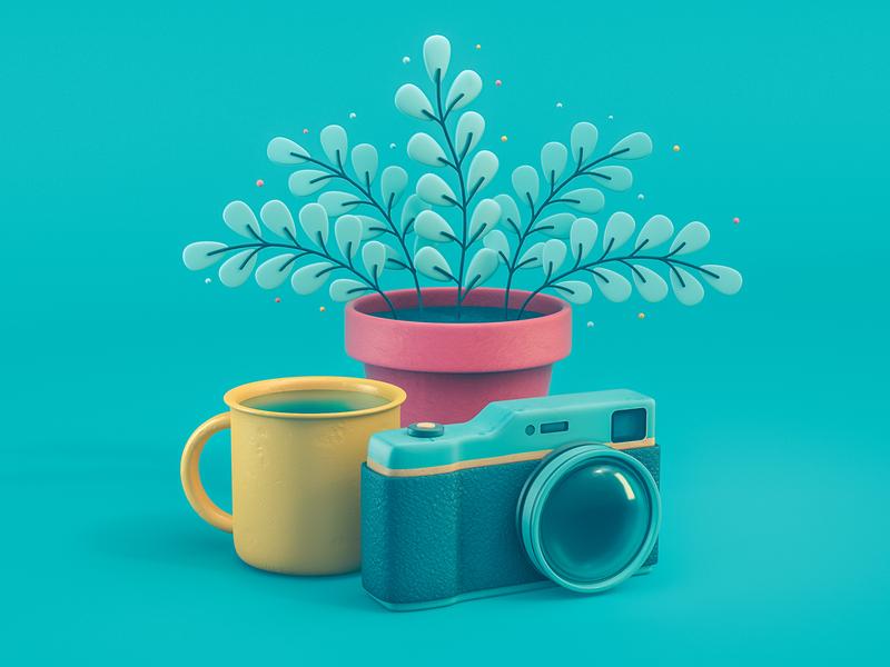 3D Still Life 3d illustration colorful plant camera still life octane illustration design 3d cinema 4d