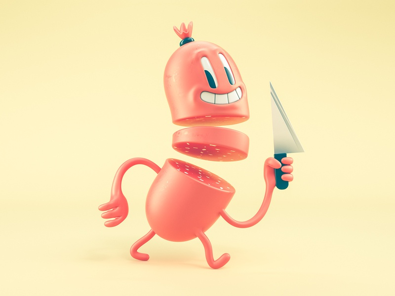 Happy Sausage sculpt 3d illustration illustration fun colorful funny knife food sausage octane cinema 4d 3d character modeling 3d character character