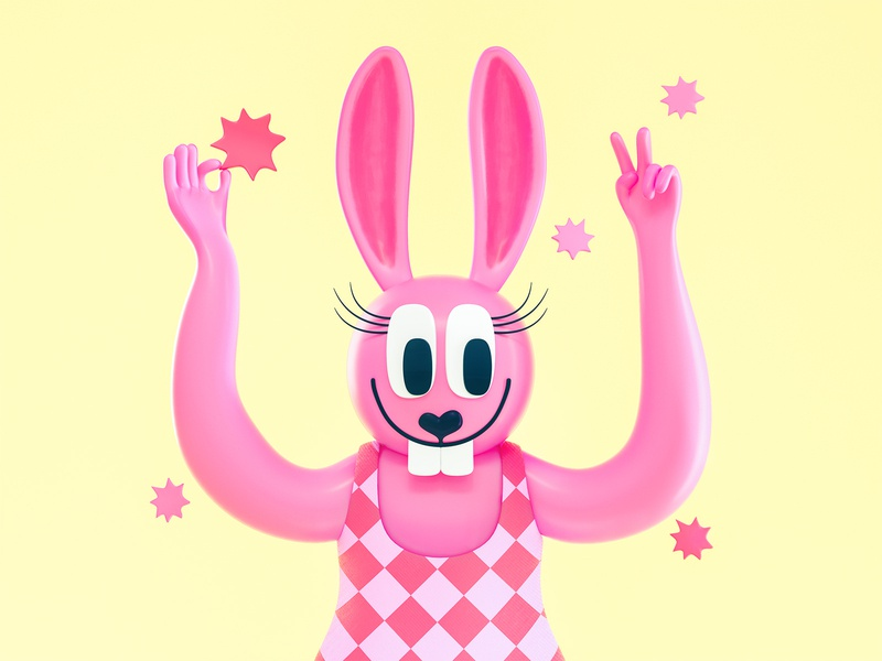 Funny Bunny colorful design low poly octane character design collaboration 3d character character 3d illustration illustration 3d cinema 4d