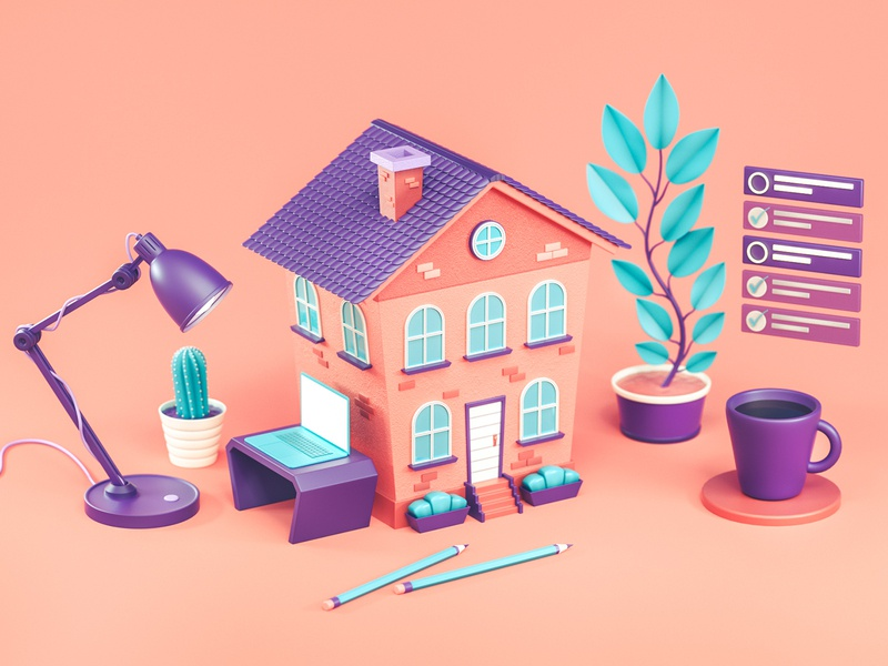 Working from home 3d illustration illustration 3d cinema 4d working process stylized isometric cactus tasks architecture working space cup plants office building work working from home