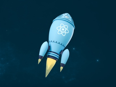 React Rocket stylized low poly science fiction outer space web design icon react coding code universe stars space spaceship 3d illustration octane design illustration 3d cinema 4d