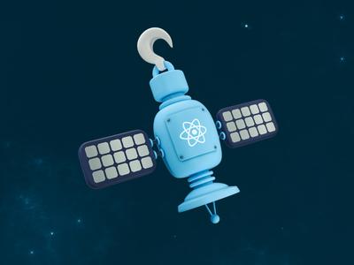 React Hooks - Satellite technology hook hooks java web design icon code react programming satellite space low poly 3d illustration octane design illustration 3d cinema 4d