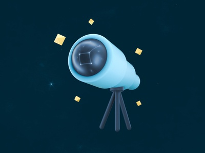 React Telescope astronomy telescope sky stars java react code programming web design hero web icon icon space low poly octane design illustration 3d cinema 4d
