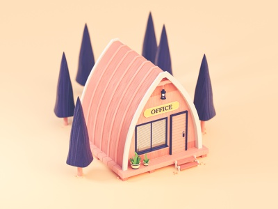 Little Cabin stylized low poly lowpoly forest nature architecture icon colorful building 3d illustration octane design illustration 3d cinema 4d