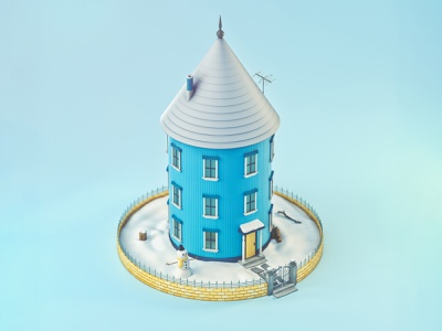 Snowy Circular House snowman winter snow building low poly colorful 3d illustration octane design illustration 3d cinema 4d
