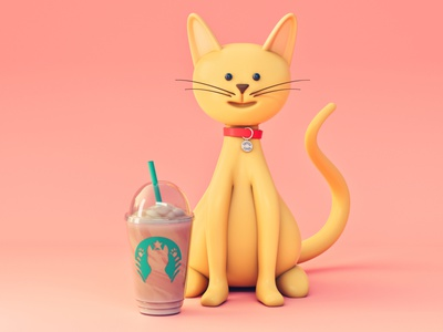 Do you want some catffee? 3d character character starbucks coffee animal cat stylized cartoon low poly 3d illustration octane design illustration 3d cinema 4d